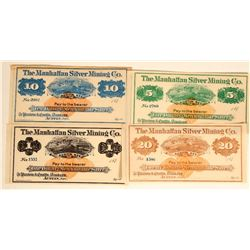 Manhattan Silver Mining Company scrip: $1, $5, $10, $20  (123466)