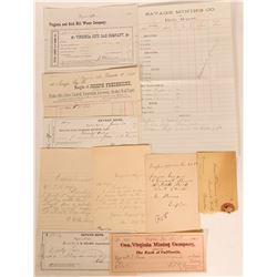 Virginia City Ephemera-Billheads, Checks, Mining Report (10)  (113338)