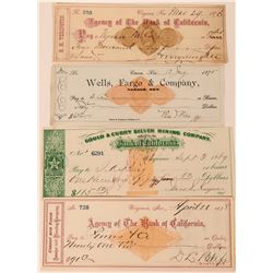 Comstock Checks with Four Different Revenue Imprinted Stamps (three with important signatures) (4)