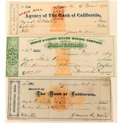 Fantastic Group of Three Checks - Each with a U. S. imprinted revenue stamp and Nevada 2c imprinted