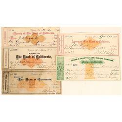 Five Revenue Imprinted Checks with Key Signatures  (123141)