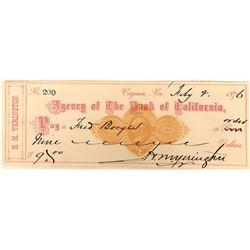 Unlisted Buff Imprinted Revenue Stamp on Henry Yerington (V&T Boss) Check  (123134)