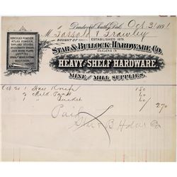 Rare Star & Bullock Hardware Co. Billhead --Deadwood's First Sheriff and Mayor  (113653)