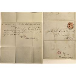 U. S. Express Cover, Folded Letter, 1854.   (125050)