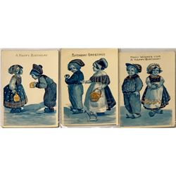 Birthday Cards by Marcus Greiner of Dutch Children In Wooden Shoes Printed With Gold (3)  (111636)