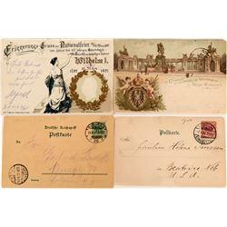 Kaiser Wilhelm I, One Hundred Year Birthdate Anniversary Pioneer Postcards (2)  (118550)