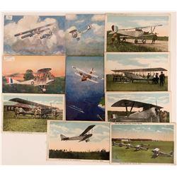U.S. Army WWI and UK Litho Bi-planes Pioneer Postcards (10)  (116608)