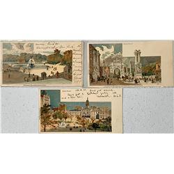 Florence Robinson Tuck Postcards of New York Scenes (3)  (111623)