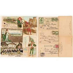 European Festival Postcards Includes a Swiss Stunner (4)  (118572)