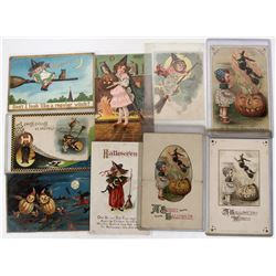 Halloween - Witch Broomstick Themed Postcard Collection (9)  (125870)