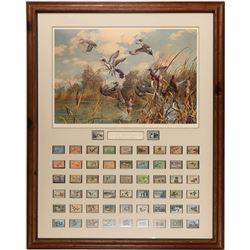 U. S. DOI Duck Stamps Yearly Collection with Signed Duck Stamp Painting  (125195)