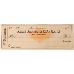 Previously Unknown Personal John. P. Jones (Nevada U. S. Senator) Wells Fargo Check  (123458)