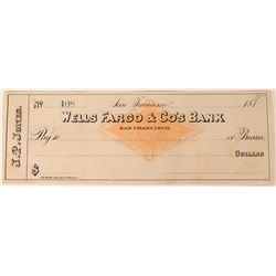 Previously Unknown Personal John. P. Jones (Nevada U. S. Senator) Wells Fargo Check  (123458)