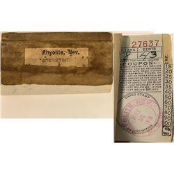 Rhyolite, Nevada Money Order Receipt Book, 1910  (125126)
