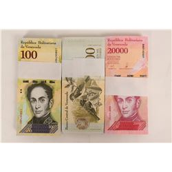 Three Packs of Unopened Crisp Uncirculated Venezuelan Currency  (125254)