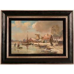 "Jan Jacob Sphler ""Frozen Fishing Harbor"" Painting Repro  (117704)"