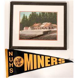 Nevada City Framed Print & Vintage Nevada Union High School Banner Flag (2 Items)  (108296)