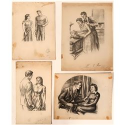 """Couples """"At Home"""" Illustrations (4)  (110420)"""
