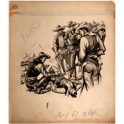 Cowboy Talking to Downed Man  (109851)