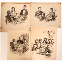 Dinner Groups Illustrations (4)  (110442)