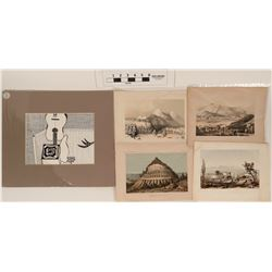 Lithograph Prints by the  United States Pacific Railroad Expedition and Survey (USPRR) (4)  (122916)