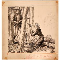 Woman Drawing Gun on Cowboy Illustration  (109858)