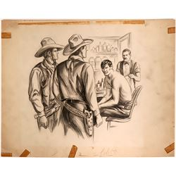 Wounded Cowboy with Doctor Illustration  (109854)