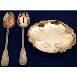 Silver Spoon & Fork & Silver Party Plate  (57573)