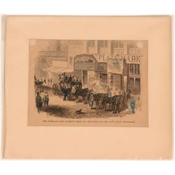 Woodcut Print of The Overland Mail Starting from San Francisco  (120226)