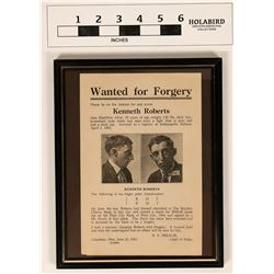 Police Wanted Poster for Kenneth Roberts-Forgery  (122924)