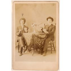 Old West Cabinet Photo of Two Gamblers Playing Cards  (111964)