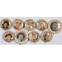 Movie Star Pinbacks by Quaker Oats, Puffed Wheat and Pender Bread  (124275)