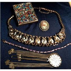 Antique Ladies Dressing Table Items, Brass, Copper and Jewels (5 Pieces)  (116156)