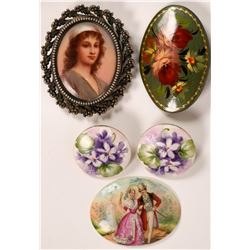 Hand Painted Enamel Brooches, Earrings  (119200)