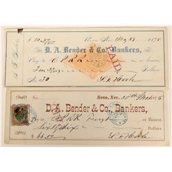 Two D. A. Bender & Company Bankers (rarer Reno bankers) signed by S. F. Hoole (see Nevada bottle boo