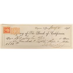 John Mackay check issued to Thomas Taylor - with Nevada 2c revenue stamp  (123139)