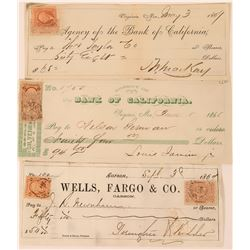 Three Different Nevada Checks with Federal and State Adhesive Revenue Stamps  (123131)