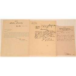 Three Virginia City Letters - One on Bank of California Letterhead  (123165)
