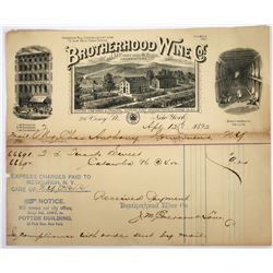 Brotherhood Wine Company Pictorial Billhead, New York, 1892  (118631)