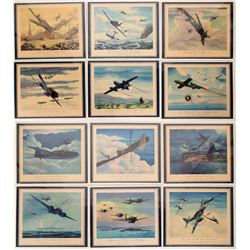 Military Fighter Planes of the Axis Lithographs (12)  (106159)