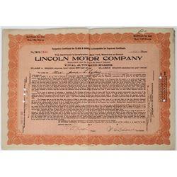 Lincoln Motor Company Stock Certificate  (118645)