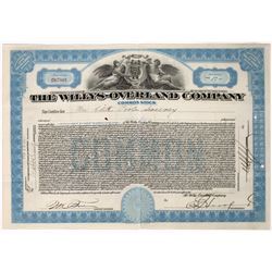 Willy's Overland Company Stock Certificate  (118646)