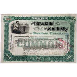 Cleveland & Sandusky Brewing Co Stock Certificate, 1905  (118620)