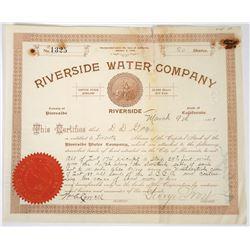 Riverside Water Company Stock Certificate, 1898  (118621)