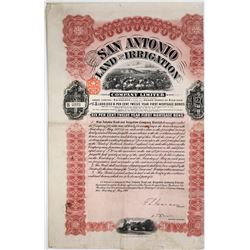 San Antonio Land & Irrigation 6% Bond, 1911, Signed by F.S. Pearson  (118622)