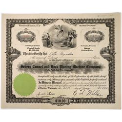 Seberg Tunnel & Rock Planing Machine Co Stock Certificate  (118663)