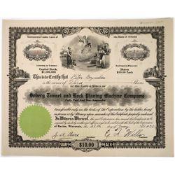 Seberg Tunnel & Rock Planing Machine Co Stock Certificate  (118663)