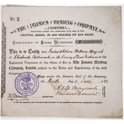 The Jamaica Trading Company Stock Certificate, 1883  (118626)