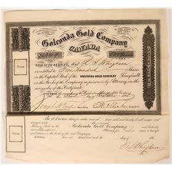 Golconda Gold Company Canada Stock Certificate, 1865  (119591)