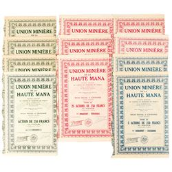 Union Miniere de la Haute Mana Bond Certificates (Lot of 11)  (81075)